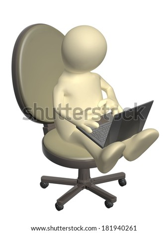 3d puppet, sitting with a laptop. Isolated on white background