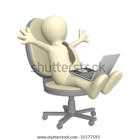 3d puppet, sitting with a laptop. Object over white