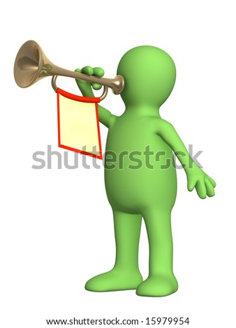 3d puppet trumpeter playing on a trumpet