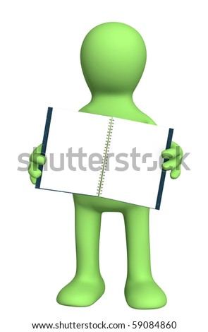 3d puppet with a notebook - stock photo