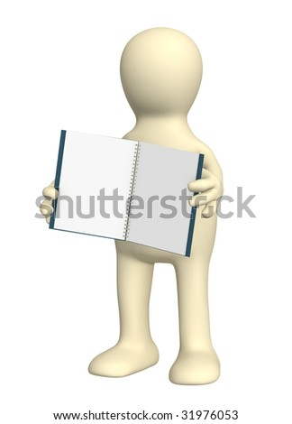 3d puppet with a notebook. Object over white - stock photo