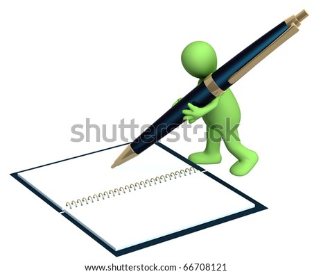 3d puppet with a pen. Isolated over white