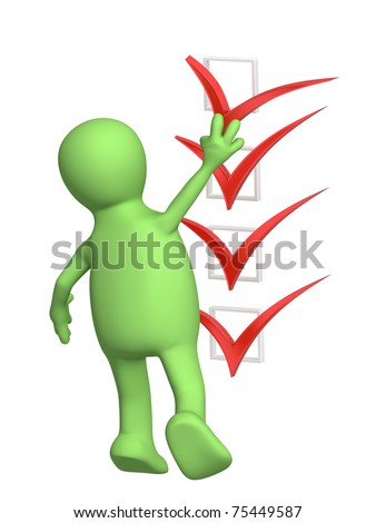 3D puppet with red point. Isolated over white - stock photo