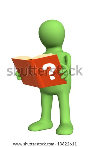 3d puppet with the directory in hands. Object over white