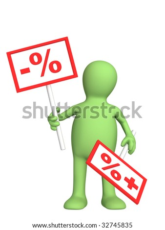3d puppet with the tablets - discount - stock photo