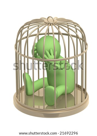 3d puppet, worth in a golden cage - stock photo