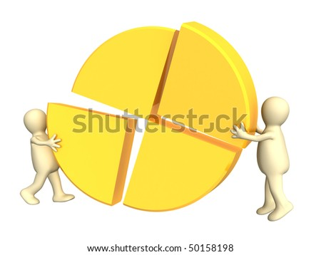 3d puppets, making the round diagram. Isolated over white - stock photo