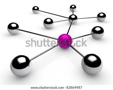 3d, purple, chrome, ball, network, communication, white - stock photo
