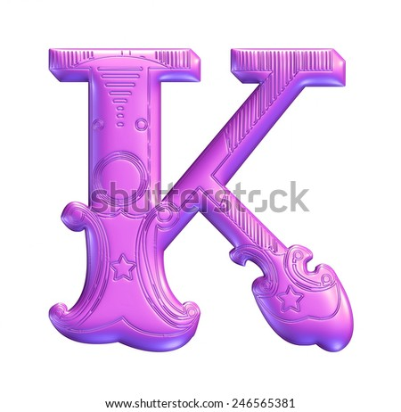 3D purple color illustration of an English alphabet letter K in graphic style with ornaments on isolated white background. - stock photo