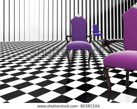 3d purple furniture on the checker background