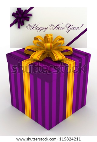 3D purple Gift christmas box with new year postal, envelope - stock photo