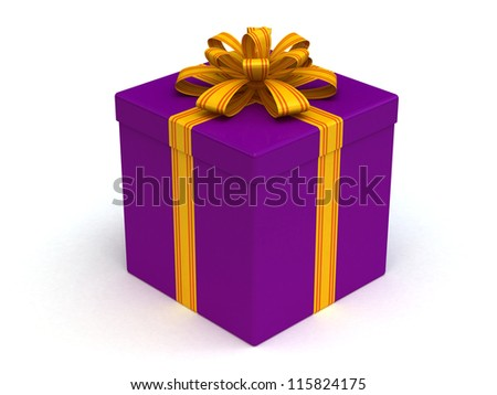 3D Purple Gift christmas box with red yellow on the white - stock photo