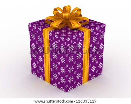 3D purple Gift christmas box with yellow bow on the white - stock photo
