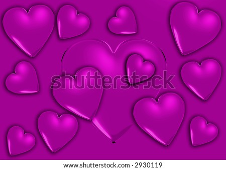 3d purple heart - stock photo