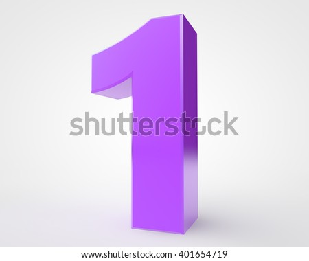 3d purple number 1 collection on white background illustration 3D rendering