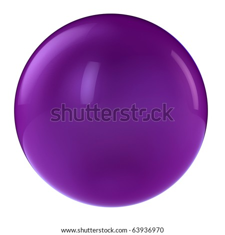3d purple sphere in studio environment isolated on white - stock photo