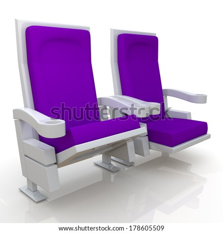 3d purple theater seats in isolated background with clipping paths, work paths  - stock photo