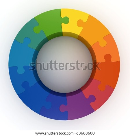 3d puzzle color wheel isolated on white - stock photo