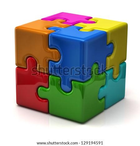 3d puzzle cube - stock photo