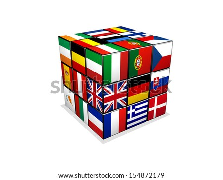 3d puzzle cube with european flags - stock photo