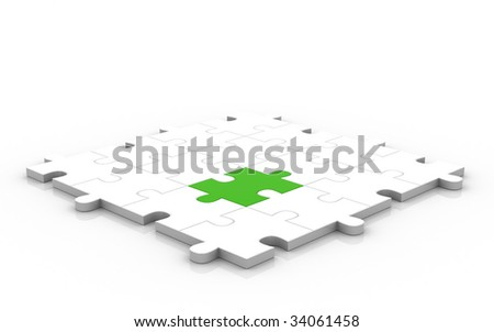 3D Puzzle Game. - stock photo
