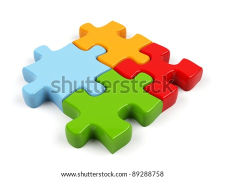 3d puzzle isolated on white.