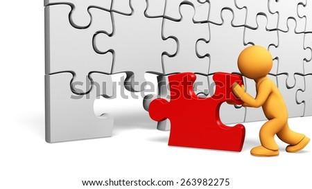 3D. Puzzle, Jigsaw Piece, Success. - stock photo