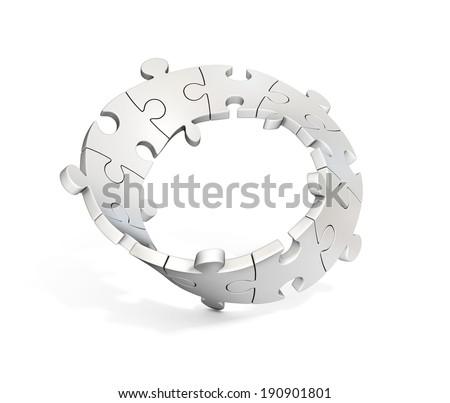 3d puzzle mobius stripe - stock photo