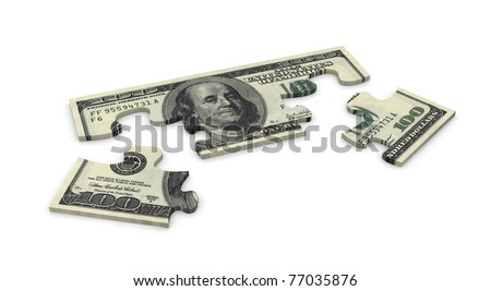 3d puzzle of dollar 100 note - stock photo