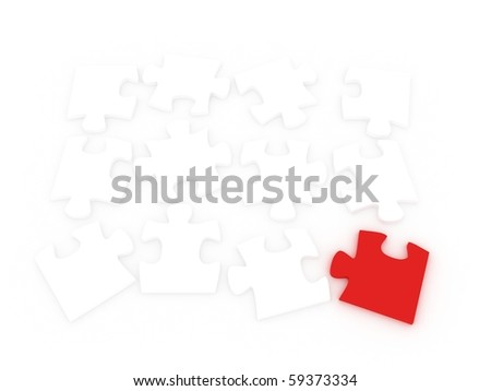3d puzzle over a white background