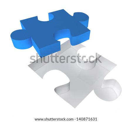 3D puzzle piece on a white background. Great business concept - stock photo
