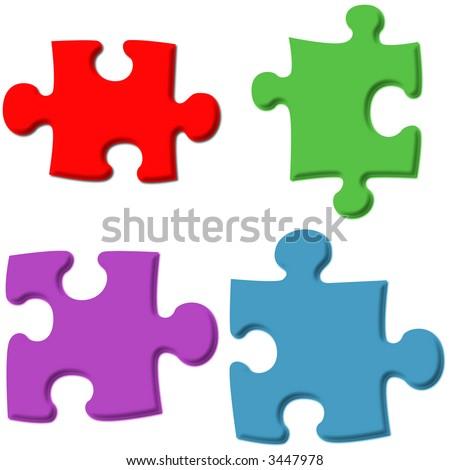 3D Puzzle Pieces - stock photo