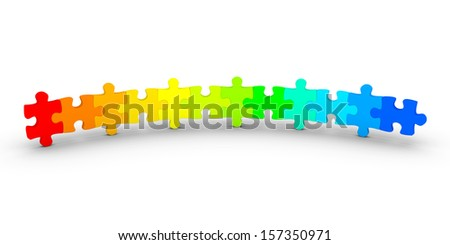3d puzzle pieces of different color are connected as an open circle - stock photo