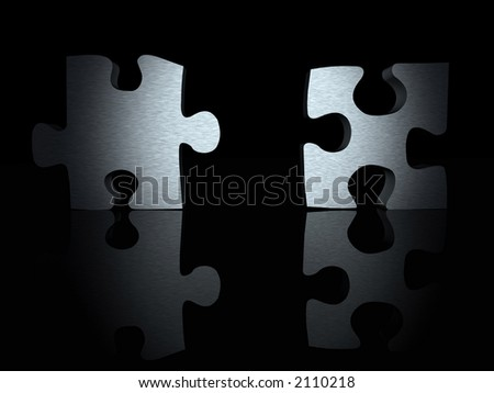 3d puzzle pieces with a metallic texture over black - stock photo