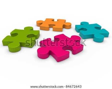 3d puzzle pink blue green orange business