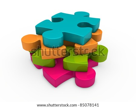 3d puzzle pink green orange blue successive - stock photo