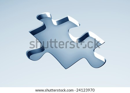 3D puzzle shaped hole - stock photo