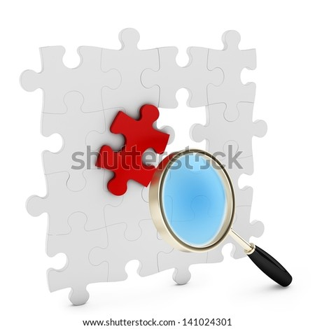 3d puzzle under magnifying glass on white background