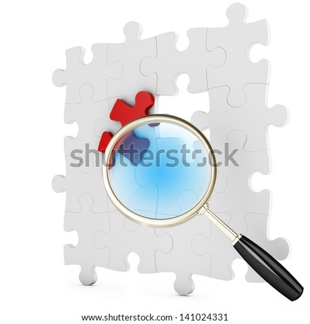 3d puzzle under magnifying glass on white background - stock photo