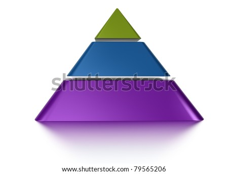 3D pyramid chart vue from front, graph contain 3 layers - stock photo