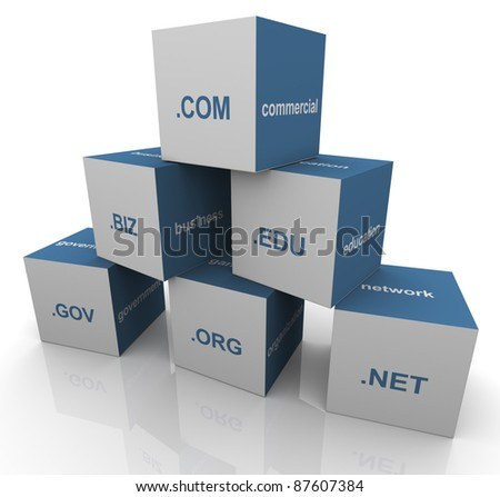 3d pyramid of popular domain name extensions - stock photo