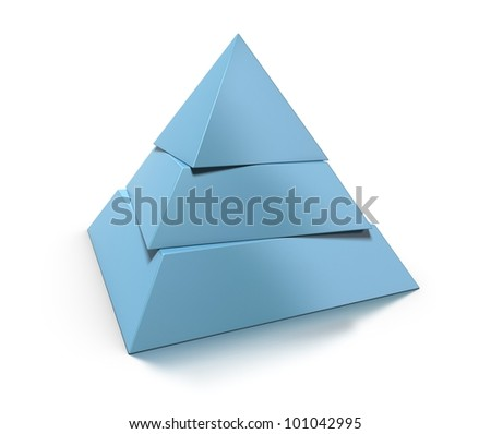 3d pyramid, three levels over white background with glossy reflection and shadow - stock photo