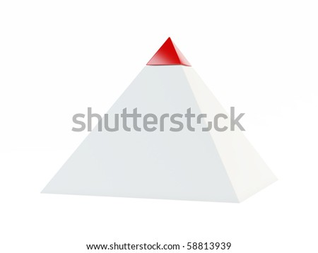 3d pyramid with red cap on white background - stock photo