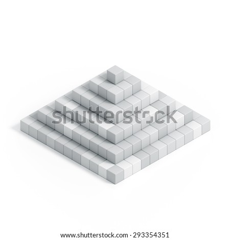 3D pyramide chart from cubes isolated on white background - stock photo
