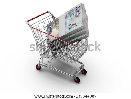 3D Qatar money in shopping cart isolated on white background