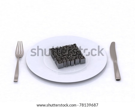 3d qr barcode on the plate - stock photo