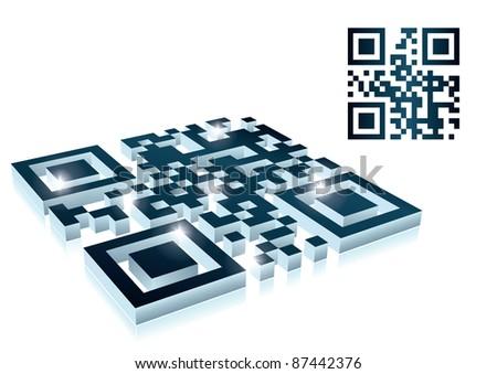 3d qr code - stock photo