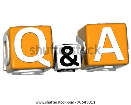 3D Question & Answer on white background - stock photo