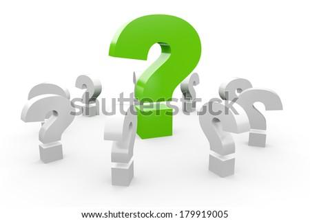 3D question mark concept green 1 - stock photo