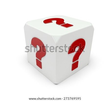 3D. Question Mark, Dice, Red.